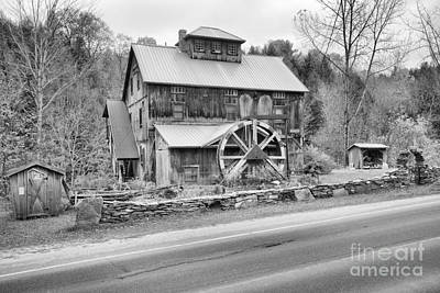 Photograph - Vermont Grist Mill By The Road Black And White by Adam Jewell