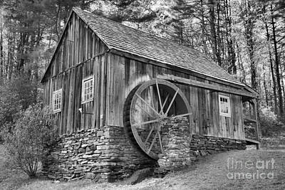 Photograph - Vermont Grist Mill In The Woods Black And White by Adam Jewell