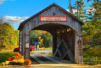 Photograph - Vermont Kissing Bridge by Adam Jewell