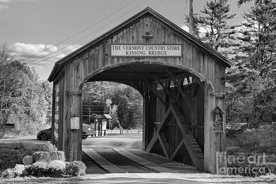Photograph - Vermont Kissing Bridge Black And White by Adam Jewell