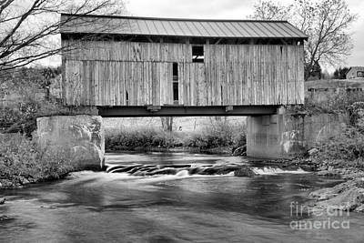 Photograph - Vermont Mudgett Covered Bridge Black And White by Adam Jewell