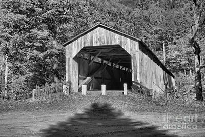 Photograph - Vermont Scott Covered Bridge Black And White by Adam Jewell