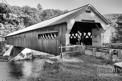Photograph - Vermont West Dummerston Covered Bridge Black And White by Adam Jewell