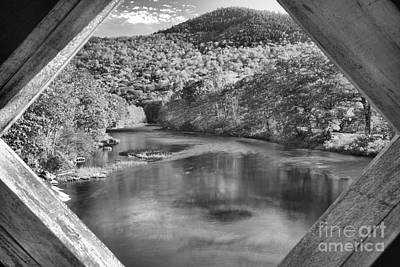 Photograph - Vermont West River Framed Black And White by Adam Jewell