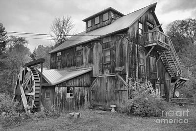 Photograph - Vermont Wooden Grist Mill Black And White by Adam Jewell