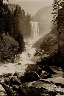 Photograph - Vernal Fall 317 Feet  Yosemite Valley Circa 1921 by California Views Archives Mr Pat Hathaway Archives