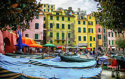 Old Masters Royalty Free Images - Vernazza Cinque Terre Town Center Boats Royalty-Free Image by Wayne Moran