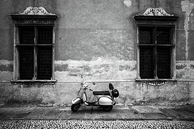 Cityscapes Photograph - Vespa Piaggio. Black And White by Claudio.arnese