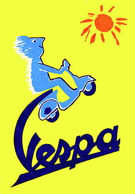 Photograph - Vespa Poster - 1955 by Doc Braham