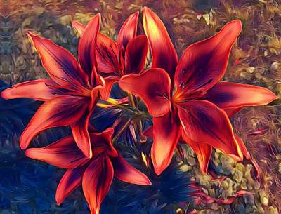 Lilies Mixed Media - Vibrant Red Lilies by Art Shack