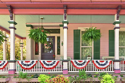 Photograph - Victorian - Bevidere Nj - Pink And Patriotic by Mike Savad