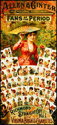 Painting - Victorian Hand Fan Fashion Montage by Unknown