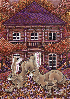 Painting - Victorian Hares 3 by Amy E Fraser