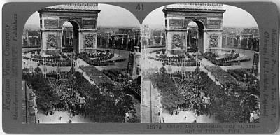 Photograph - Victory Day Celebration At The Arc De by The New York Historical Society