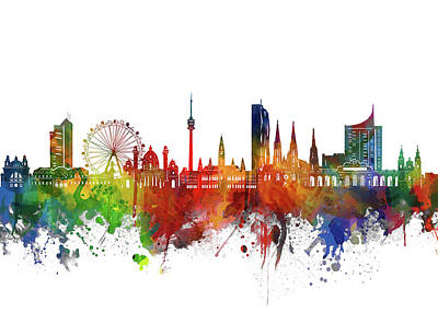 Abstract Skyline Royalty-Free and Rights-Managed Images - Vienna Skyline Watercolor 2 by Bekim M