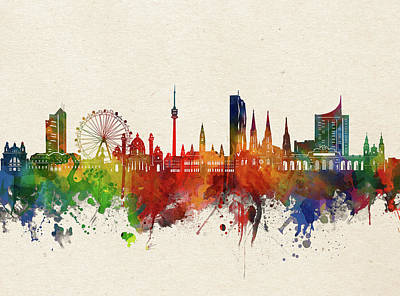 Abstract Skyline Royalty-Free and Rights-Managed Images - Vienna Skyline Watercolor by Bekim M