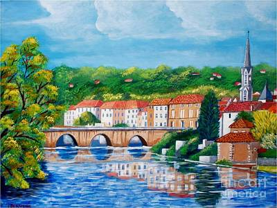Painting - Vienne River Crossing Confolens, France by Jean Pierre Bergoeing
