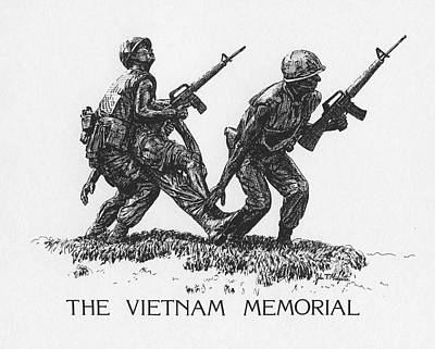 Drawing - Vietnam Memorial Statue by Tommy Midyette