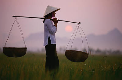 Photograph - Vietnam, Near Hanoi, Young Woman by Martin Puddy