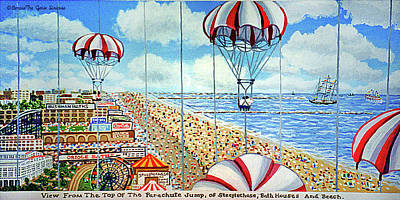 View From Parachute Jump Towel Version Art Print
