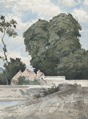 Drawing - View From The Ramparts At Chartres by Henri Harpignies