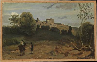 Rose - View of Genzano with a Rider and Peasant 1843 or later by Camille Corot
