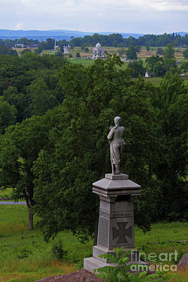 Photograph - View Of Gettysburg Battlefield From Little Round Top Hill by James Brunker
