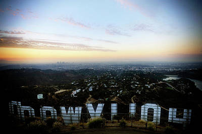 View Of La From Behind The Hollywood Art Print