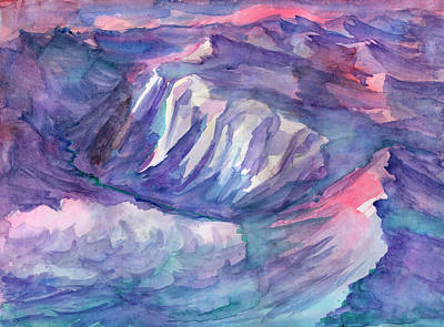 Painting - View Of Mountain Peaks From An Airplane by Dobrotsvet Art