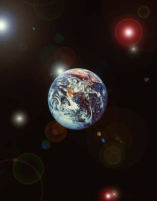 Photograph - View Of Outer Space With Earth And by Grant Faint