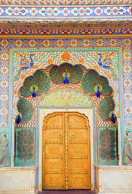 Indian Culture Photograph - View Of Peacock Door In Palace by Grant Faint