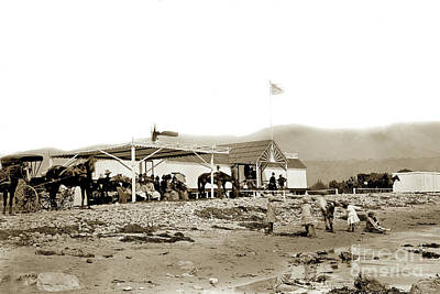 Photograph - View Of The Beachfront Santa Barbara First Bath House Circa 1880 by California Views Archives Mr Pat Hathaway Archives