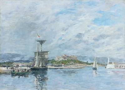 Clouds Rights Managed Images - View of the Port of Antibes, Morning, 1893 Royalty-Free Image by Eugene Boudin