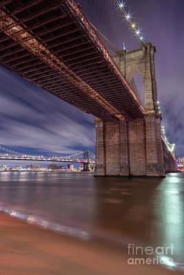 Photograph - View On Brooklyn Bridge From East River Sand Beach  by Andriy Stefanyshyn