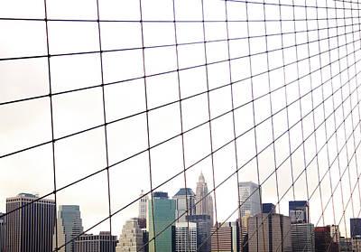 View To Nyc Through Brooklyn Bridge Art Print by Thomas Northcut