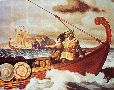 Viking Longship On The Water Art Print by Hulton Archive