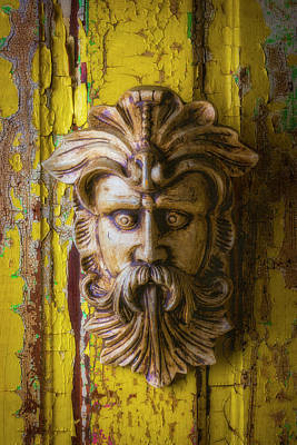 Photograph - Viking Mask On Old Door by Garry Gay
