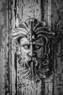 Photograph - Viking Mask On Old Door In Black And White by Garry Gay