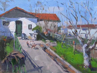 Chickens Wall Art - Painting - Village In Greece by Ylli Haruni