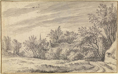 Drawing - Village Path With Church Spire In The Distance by Guillam Du Bois