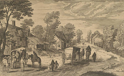 Relief - Village Street With Two Carts by Aegidius Sadeler