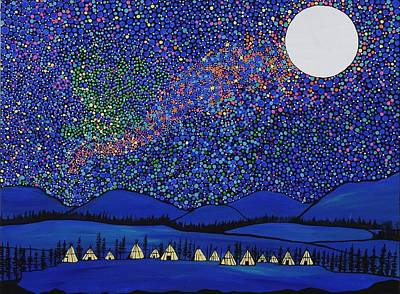 Under The Moon Wall Art - Painting - Village Under The Stars by Rachel Olynuk