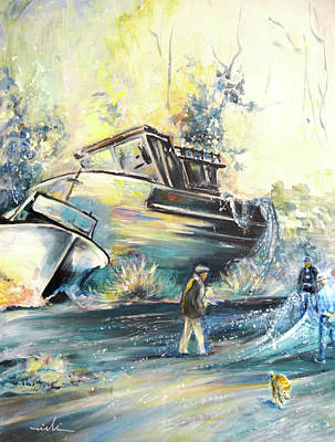 Painting - Villajoyosa Boats Yard In Spain 01 by Miki De Goodaboom