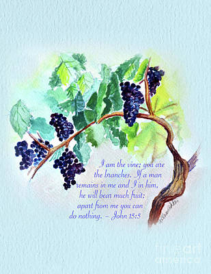Painting - Vine And Branch With Scripture - Vertical by Allison Ashton