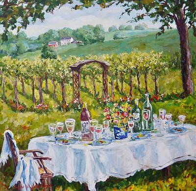 Painting - Vineyard Dining by Ingrid Dohm