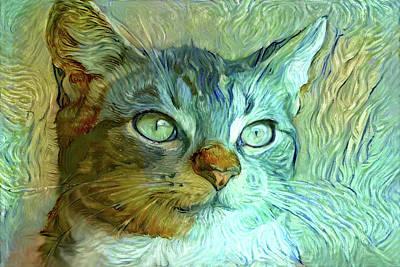 Digital Art - Vinnie The Van Gogh Cat by Peggy Collins