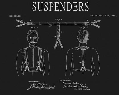 Drawing - Vintage 1885 Suspenders by Dan Sproul