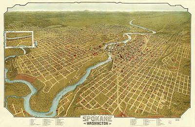 Mixed Media Rights Managed Images - Vintage 1905 Spokane Map Royalty-Free Image by Mark Kiver