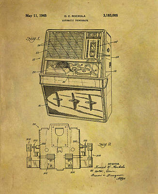 Drawing - Vintage 1965 Jukebox Patent by Dan Sproul