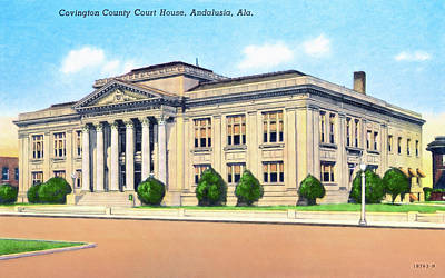 Photograph - Vintage Andalusia Alabama - Courthouse by Mark Tisdale